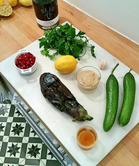 Aubergine grillée au tahini ingrédients - Copyright © Gratinez