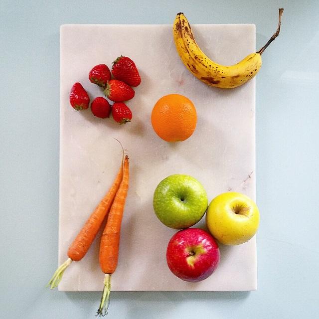 Jus de fraise, carotte, pomme, orange, banane – Copyright © Gratinez