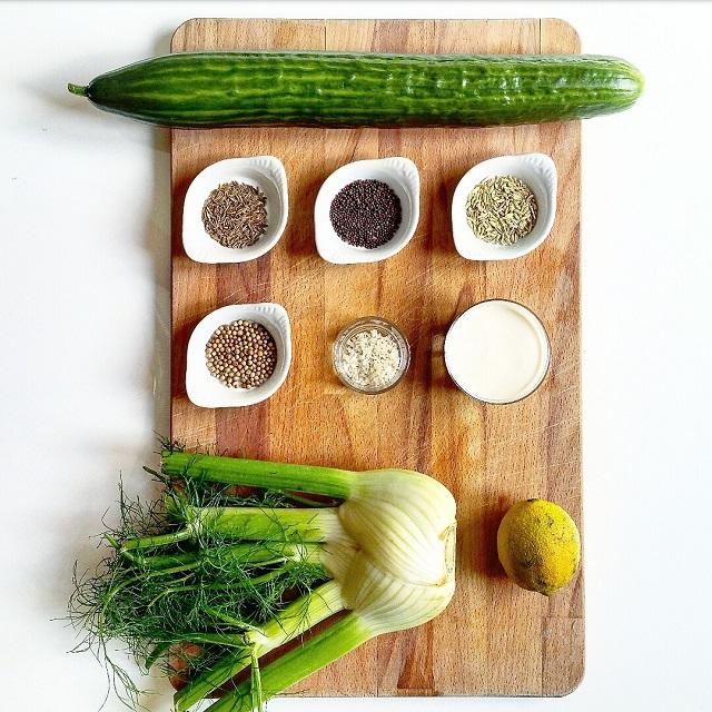 Ingrédients du Concombre à la crème, fenouil et épices – Copyright © Gratinez