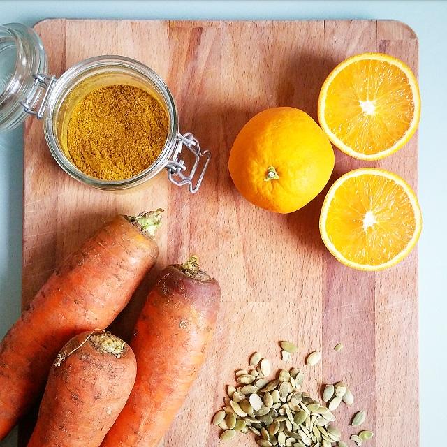 Carotte, orange, curry de Madras et graines de courge – Copyright © Gratinez