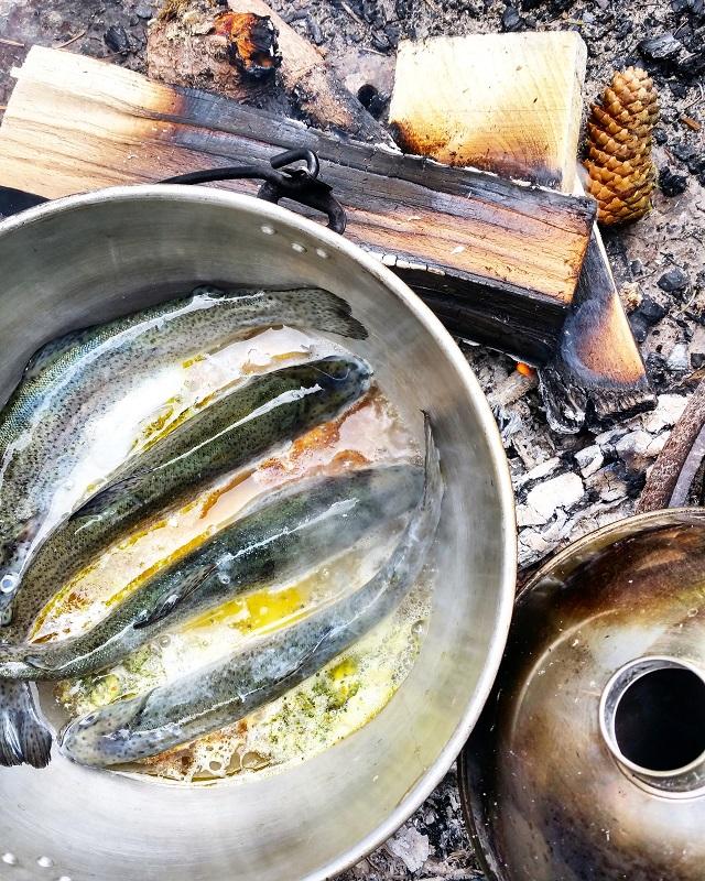 Truites au feu de bois et herbes sauvages, région Jura et Trois Lacs – Copyright © Gratinez