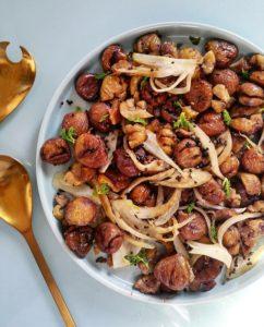 Poêlée de marrons, fenouil émincé, et épices (graines de fenouil et de moutarde) – Copyright © Gratinez